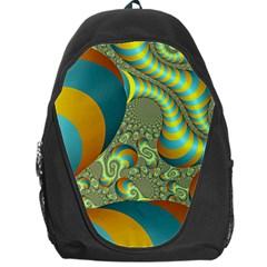 Gold Blue Fractal Worms Background Backpack Bag