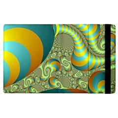 Gold Blue Fractal Worms Background Apple iPad 3/4 Flip Case