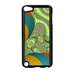 Gold Blue Fractal Worms Background Apple iPod Touch 5 Case (Black)