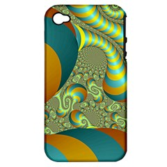 Gold Blue Fractal Worms Background Apple Iphone 4/4s Hardshell Case (pc+silicone)