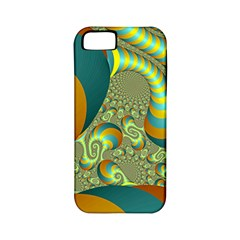 Gold Blue Fractal Worms Background Apple iPhone 5 Classic Hardshell Case (PC+Silicone)