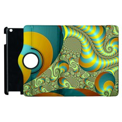 Gold Blue Fractal Worms Background Apple iPad 2 Flip 360 Case