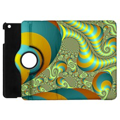 Gold Blue Fractal Worms Background Apple iPad Mini Flip 360 Case