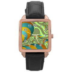 Gold Blue Fractal Worms Background Rose Gold Leather Watch