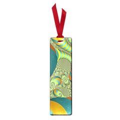 Gold Blue Fractal Worms Background Small Book Marks