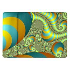 Gold Blue Fractal Worms Background Samsung Galaxy Tab 10.1  P7500 Flip Case