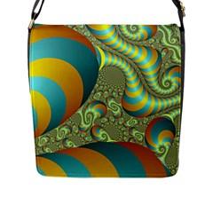 Gold Blue Fractal Worms Background Flap Messenger Bag (L)