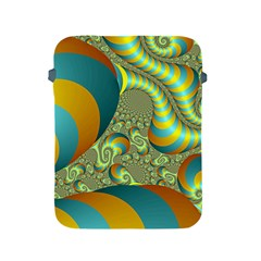 Gold Blue Fractal Worms Background Apple iPad 2/3/4 Protective Soft Cases