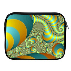 Gold Blue Fractal Worms Background Apple iPad 2/3/4 Zipper Cases