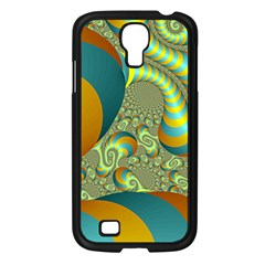 Gold Blue Fractal Worms Background Samsung Galaxy S4 I9500/ I9505 Case (Black)