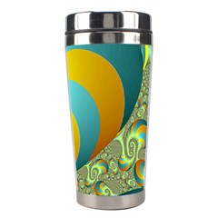 Gold Blue Fractal Worms Background Stainless Steel Travel Tumblers
