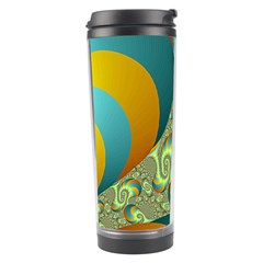 Gold Blue Fractal Worms Background Travel Tumbler