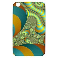 Gold Blue Fractal Worms Background Samsung Galaxy Tab 3 (8 ) T3100 Hardshell Case