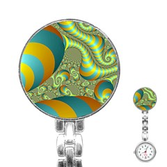 Gold Blue Fractal Worms Background Stainless Steel Nurses Watch