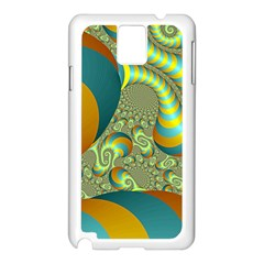 Gold Blue Fractal Worms Background Samsung Galaxy Note 3 N9005 Case (White)