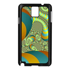 Gold Blue Fractal Worms Background Samsung Galaxy Note 3 N9005 Case (black)
