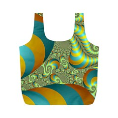 Gold Blue Fractal Worms Background Full Print Recycle Bags (M)