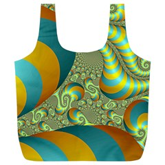 Gold Blue Fractal Worms Background Full Print Recycle Bags (L)