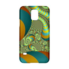Gold Blue Fractal Worms Background Samsung Galaxy S5 Hardshell Case