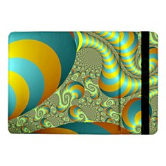 Gold Blue Fractal Worms Background Samsung Galaxy Tab Pro 10 1  Flip Case