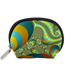 Gold Blue Fractal Worms Background Accessory Pouches (Small)