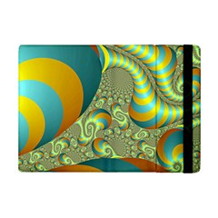 Gold Blue Fractal Worms Background iPad Mini 2 Flip Cases