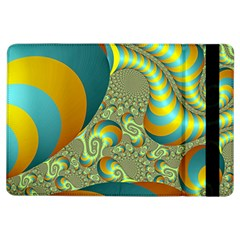 Gold Blue Fractal Worms Background iPad Air Flip