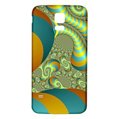 Gold Blue Fractal Worms Background Samsung Galaxy S5 Back Case (White)
