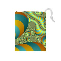 Gold Blue Fractal Worms Background Drawstring Pouches (Medium)