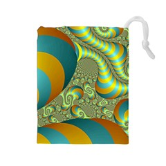 Gold Blue Fractal Worms Background Drawstring Pouches (Large)