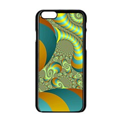 Gold Blue Fractal Worms Background Apple iPhone 6/6S Black Enamel Case
