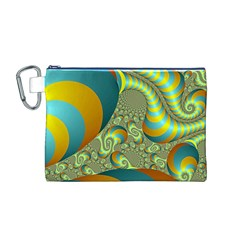 Gold Blue Fractal Worms Background Canvas Cosmetic Bag (m)