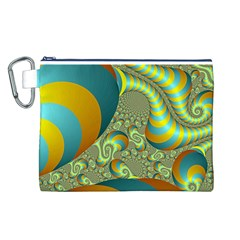 Gold Blue Fractal Worms Background Canvas Cosmetic Bag (L)