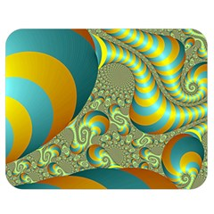 Gold Blue Fractal Worms Background Double Sided Flano Blanket (medium)