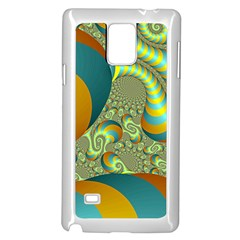 Gold Blue Fractal Worms Background Samsung Galaxy Note 4 Case (White)