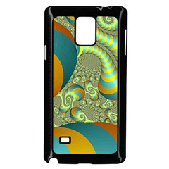 Gold Blue Fractal Worms Background Samsung Galaxy Note 4 Case (Black)