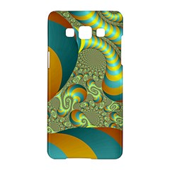 Gold Blue Fractal Worms Background Samsung Galaxy A5 Hardshell Case