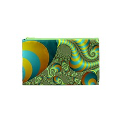 Gold Blue Fractal Worms Background Cosmetic Bag (xs)