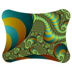 Gold Blue Fractal Worms Background Jigsaw Puzzle Photo Stand (Bow)