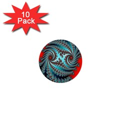 Digital Fractal Pattern 1  Mini Buttons (10 Pack)