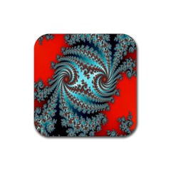 Digital Fractal Pattern Rubber Coaster (square)