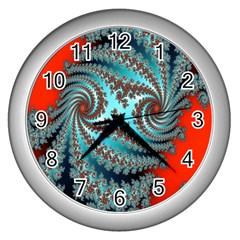 Digital Fractal Pattern Wall Clocks (silver)