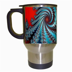 Digital Fractal Pattern Travel Mugs (White)