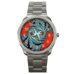 Digital Fractal Pattern Sport Metal Watch