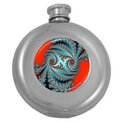 Digital Fractal Pattern Round Hip Flask (5 oz)