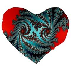 Digital Fractal Pattern Large 19  Premium Heart Shape Cushions