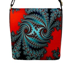 Digital Fractal Pattern Flap Messenger Bag (L)