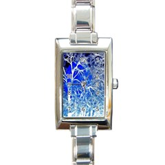Winter Blue Moon Fractal Forest Background Rectangle Italian Charm Watch