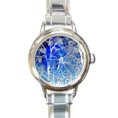 Winter Blue Moon Fractal Forest Background Round Italian Charm Watch