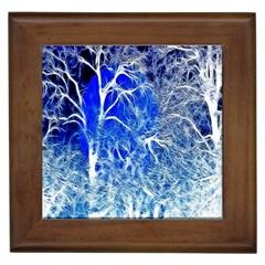 Winter Blue Moon Fractal Forest Background Framed Tiles